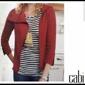 CABI Sweater Small Red Zip Front Long Sleeve XS